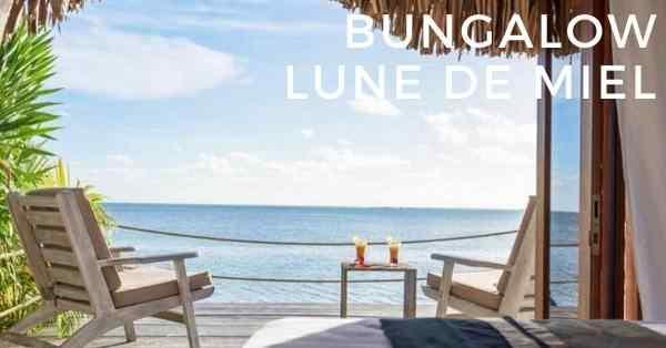 bungalow lune de miel a la pension moorea beach lodge sur l'ile de Moorea en Polynésie